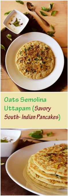 Healthy oats semolina uttapam made with whole grains, greek yogurt,and fresh…