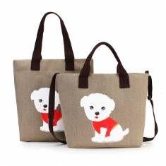 Women Canvas Handbag Cute Cat Shoulder Bag Totes - US$14.99