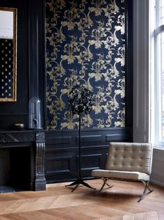 Because that midcentury modern chair is perfect contrast for that updated but st.- Because that midcentury modern chair is perfect contrast for that updated but still over-the-top Victorian wallpaper pattern. Victorian Wallpaper, House Design, Decor, House Interior, Victorian Decor, Home, Interior, Modern Victorian, Home Decor