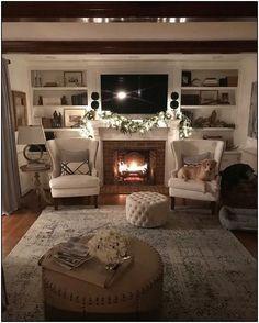 54 Cozy Fireplace Decor for Cottage Living Room Interior Design Farm House Living Room, Room Design, Cozy Fireplace, Living Room With Fireplace, Fireplace Design, Living Room Interior, Cottage Living Rooms, Cottage Living, Living Decor