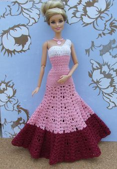 crochet barbie doll clothes for beginners Crochet Barbie Patterns, Crochet Doll Dress, Barbie Clothes Patterns, Crochet Barbie Clothes, Doll Dress Patterns, Clothing Patterns, Barbie Gowns, Barbie Dress, Barbie Shoes