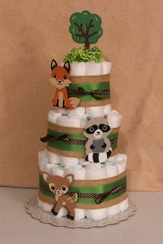 3 Tier Diaper Cake Woodland Foxey Fox by GmaJuliesDiaperCakes