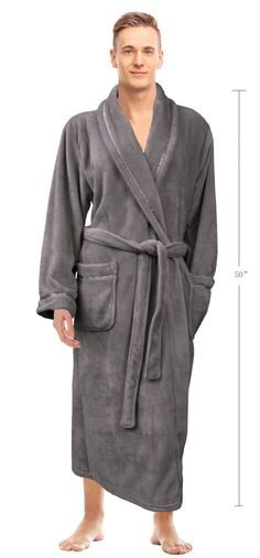 39c09abba9 Napa® Men s Super Soft Warm Microfiber Fleece Bathrobe Spa Shawl Robe  Sleepwear  Bathrobe
