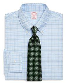 Domple Men Checkered Lapel Neck Long Sleeve Business Regular Fit Button Down Dress Work Shirt