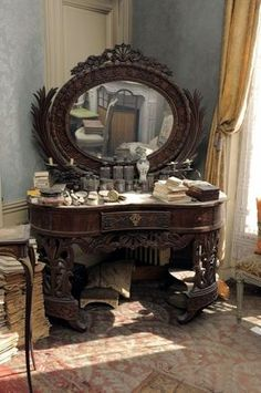 Dressing table in a Parisian flat left untouched for 70 years.