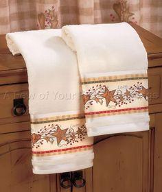 2 HAND TOWELS COUNTRY HEARTS BERRIES & STARS BATHROOM KITCHEN DECOR LINDA SPIVEY