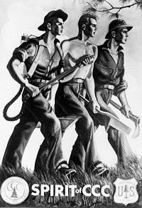 """Spirit of CCC """" poster depicts three CCC boys carrying the tools of their profession, the water backpack, mattock, and the tree planting bar. The original was a 4x6 foot oil painting, created by Harry Rossoll in 1938. Harry Rossoll later became well known as one of the artists of Smoky the Bear."""