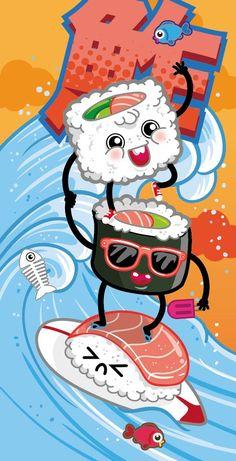 by Rubens Cantuni Arte Do Sushi, Sushi Art, Japanese Food Art, Japanese Design, Images Colibri, Japanese Drawing, Food Illustrations, Illustration Art, Sushi Drawing