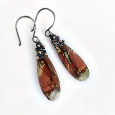 SALE Jasper Earrings, Rustic Jewelry, Oxidized Sterling Silver Jewelry, Kande, Drop Earrings, Teardrop Earrings, Rust Red, Olive Green