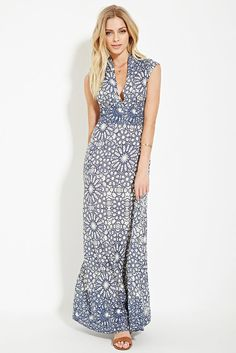 NWT FOREVER 21 CONTEMPORARY TILE MAXI DRESS NAVY BLUE CREAM WHITE SMALL NEW! #FOREVER21 #Maxi