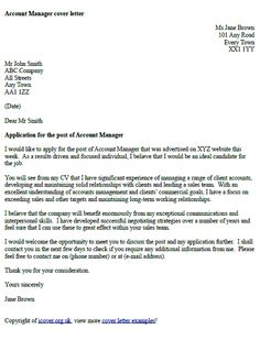 account manager cover letter example - Written Cover Letter