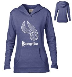 Harry Potter Inspired Clothing - Ravenclaw Snitch Semi-Fitted Lightweight Pullover Hoodie - Ladies