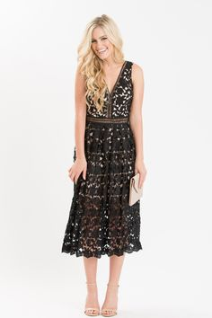 Shop the Isabella Black Lace Midi Dress at Morning Lavender - boutique clothing featuring fresh, feminine and affordable styles. Cute Lace Dresses, Cheap Dresses, Beautiful Dresses, Black Lace Midi Dress, Lil Black Dress, Dressy Outfits, Casual Dresses, Fashion Dresses, Casual Clothes
