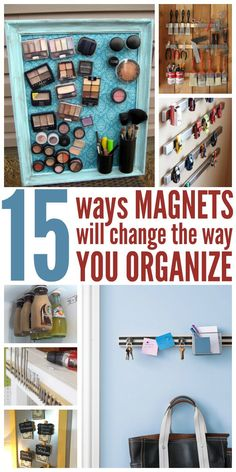 Everybody had random magnets lying around the house. Why not use them to your advantage by organizing the little things that can cause clutter? Clutter Organization, Home Organisation, Bathroom Organization, Organization Ideas, Storage Ideas, Garage Organization, Getting Rid Of Clutter, Getting Organized, Crafts For Teens To Make
