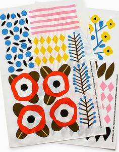 Akankaali print by Aino-Maija Metsola for Marimekko. Textile Prints, Textile Patterns, Textile Design, Fabric Design, Lino Prints, Block Prints, Graphic Patterns, Color Patterns, Print Patterns