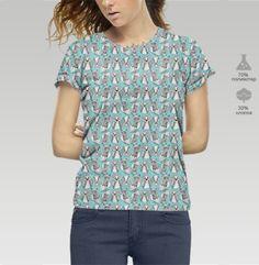 черно-белые рисованые совы - паттерн - Футболка женская c полной запечаткой, Магазин футболок BaikalGraphics
