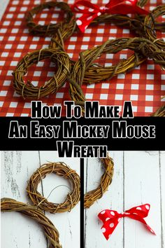 love this easy Mickey Mouse wreath tutorial! It's the perfect Disney wreath with farmhouse charm you can make in less than 10 minutes! Mickey Mouse Wreath, Mickey Mouse Christmas, Disney Christmas, Christmas Holiday, Christmas Ideas, Disney Diy, Disney Crafts, Disney Mouse, Disney Magic
