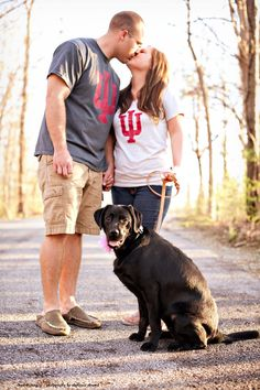 IU and Our Puppy Dog Engagement Photo.... This would be cute with Purdue clothes :)