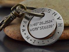 for jarrod with drake coordinates--en Personalized Key Chain  Latitude Longitude Key by GunmetalGems, $27.00