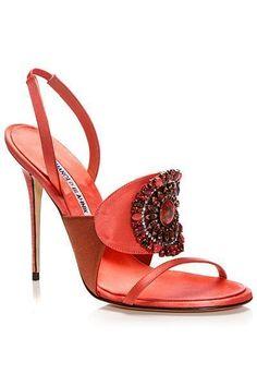 Manolo Blahnik Peach Bejeweled Slingback Sandal Spring Summer 2014 #Manolos #Shoes #manoloblahnikheelsspringsummer #manoloblahniksandals #manoloblahnikslingback