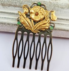 Small hair comb in bronze with pansy, flower hair comb, ornate hair comb, exclusive hair comb, hair accessories - pinned by pin4etsy.com
