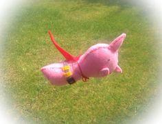 Super Pig!! Caped Crusader  - Felt handmade original by MonsterDen, £15.00 #super #pig #felt #handmade #plush #toy #hero