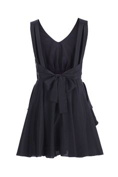 Cut-out Back Pleated Black Dress