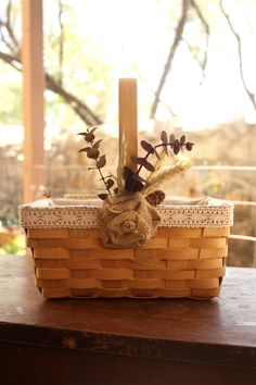 Rustic Flower Girl Basket with ivory lace and by BurlapandButter