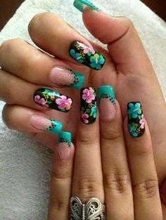 #uñas #hermosas #turquesa #flores