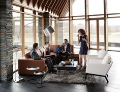 Perfect settings for a pre-dinner drink. Cenova sofa, Monte chairs and Kuta floor lamp.