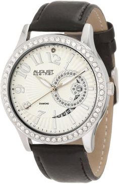 August Steiner Women's ASA842SS Diamond Quartz Watch August Steiner. $99.00. Silver etched sunray dial. Genuine crystals adorn the bezel. Date display at 3 o'clock. Diamond at 12 o'clock and glitter at 3 o'clock. Bold silver-tone arabic numerals and baton hour markers