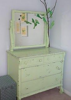 Colorful dresser and handsewn birds