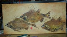 "Fish print collage, by printmaker and gourd artist, Carla Bratt.12 x 24 "" , on 1 1/2 "" gallery wrapped canvas."