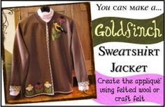 Goldfinch and Cone Flowers Jacket Pattern | Applique on sweatshirt conversion | YouCanMakeThis.com