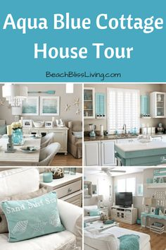 """A little cottage in sunny California, decorated by a beach lover with a passion for aqua. """"I absolutely love the beach! It's so relaxing and peaceful,"""" designer Breezy . Read moreEasy Breezy Living in an Aqua Blue Cottage Beach Cottage Style, Beach Cottage Decor, Coastal Cottage, Cottage Homes, Coastal Style, Coastal Decor, Beach Cottage Kitchens, Aqua Decor, Beach Chic Decor"""