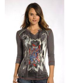 Panhandle Slim Women's Grey Aztec Design 3/4 Sleeve Top