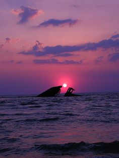 Purple Lit 2  The S. S. Atlantus,   Sunken concrete ship @ Sunset beach,   Cape May County  Cape May, NJ