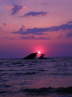 Purple Lit 2  The S. S. Atlantus,   Sunken concrete ship @ Sunset beach,   Cape May County  Cape May, NJ