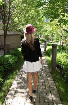 Vintage White Tennis Skirt & Desert Rose Cloche.