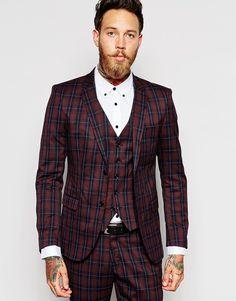 Selected Homme Exclusive Burgundy Tartan Suit in Skinny Fit