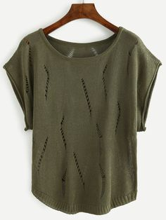 Olive Green Ripped Knit Top