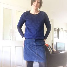#mmmay17 Day 14 ✂️ #grainlinestudio #mossskirt and #lindensweatshirt. My first ever  Linden! Still worn a lot and my this skirt is a key piece of my wardrobe. Need to get some summer shoes to wear with it. Shoes are my downfall, I can only wear comfortable shoes, I have big feet and never know what to wear on my feet!  ohh... just realised i need to put a necklace on!mossskirt,mmmay17,lindensweatshirt,grainlinestudiojens.ks