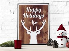 Christmas Printable | White Reindeer Happy Holidays Print | Christmas Poster | Instant Download | Holiday Decor | 8x10 | Wall Art