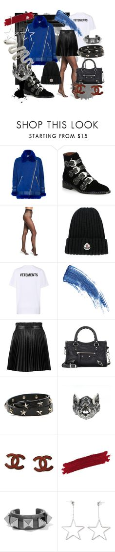 """""""--"""" by vivvie on Polyvore featuring Linda Horn, Acne Studios, Givenchy, Wolford, Moncler, Vetements, Eyeko, RED Valentino, Balenciaga and Chanel"""