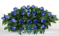 XL Royal Blue Roses Silk Flower Cemetery Tombstone Saddle Arrangement, $39.99