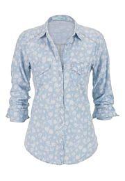 floral print denim button down boyfriend shirt - maurices.com
