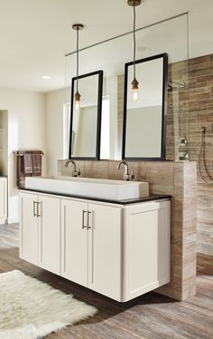 A bathroom renovation can make a huge difference in the feel of your home. Learn how to create a beautiful and functional space that you can enjoy every day. #HomecrestCabinetry #MasterBrandCabinets