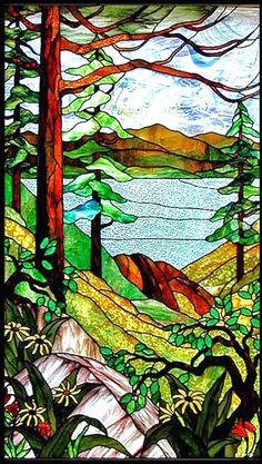 Two stained glass panels of nature scene | stained glass lake scene, tiffany style