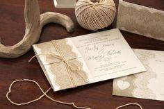 Hochzeitskarten mit Spitze  binden - schöne Idee