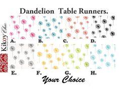 Dandelion  Table RunnerDandelion Table Cloth.White by KikoyChic, $15.00